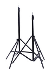 Studio light stand isolated on white. Photographic equipment, vertical image.