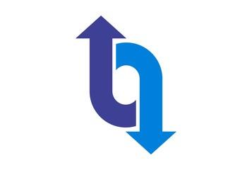 letter o up down arrow logo icon