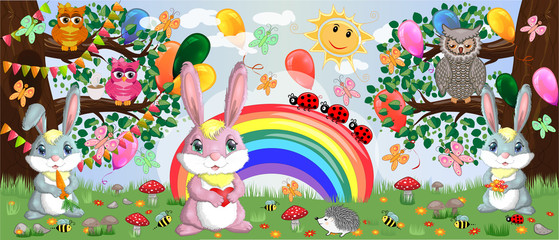 A family of three bunnies in the meadow near the rainbow. Mom, dad, baby. Spring, love, postcard