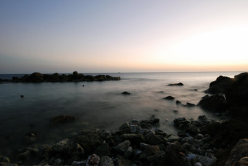 Curacao, classic long exposure seascape after sunset