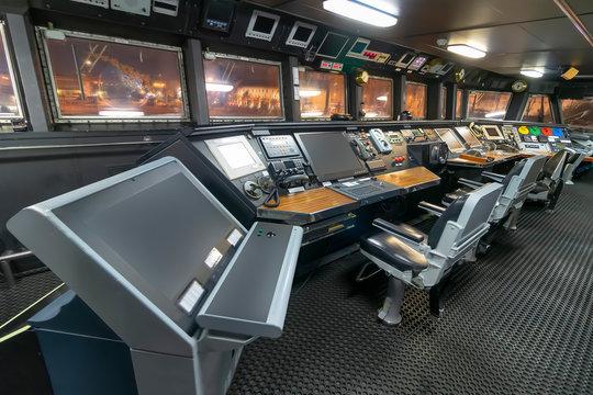 Ship control panel in captain's bridge
