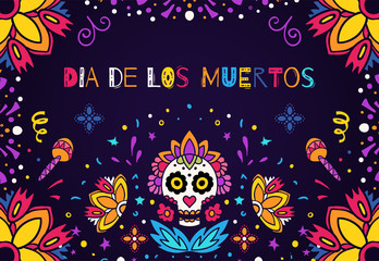 Dia de los Muertos, Day of the Dead vector illustration. Design for banner or party flyer with sugar skull, flowers and decorative border.