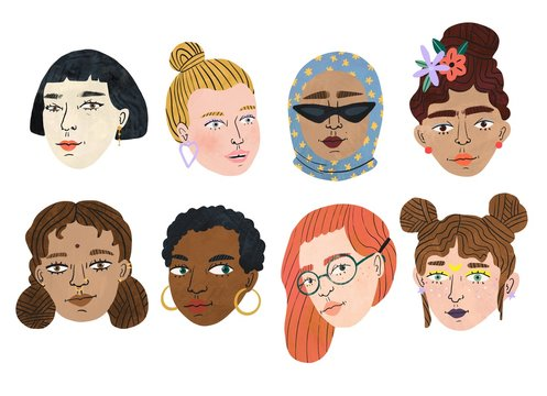 Happy international women's day. Different beauty. Set of various women's heads. Various races and nationalities. Colored hand drawn illustration.