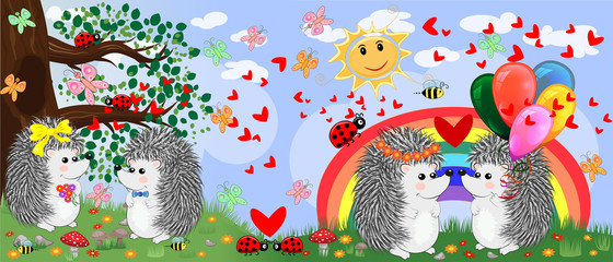 Two pairs of hedgehogs in love in a forest glade near the rainbow. Spring, love, postcard