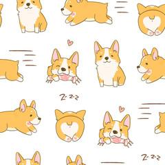 Kawaii playful Corgi dogs in various poses. Hand drawn colored vector seamless pattern