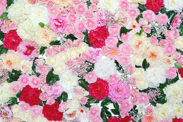 Many different flowers, floral decorated wall background. Gentle pastel toned colors photo