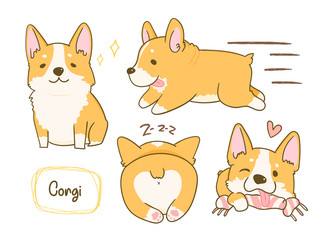 Kawaii playful Corgi dogs in various poses. Hand drawn colored vector set. All elements are isolated
