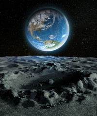 Wall Murals Nasa Blue Planet Earth from a Crater on the Moon's Surface