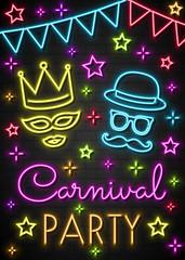 Carnival Party - colorful neon invitation card. Vector
