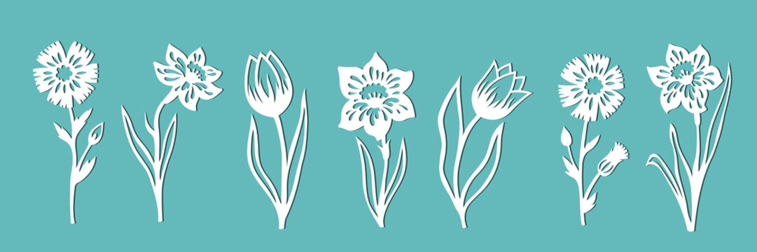 A set of flowers for decoration. Templates for paper cutting, laser cutting and plotter. Vector illustration.