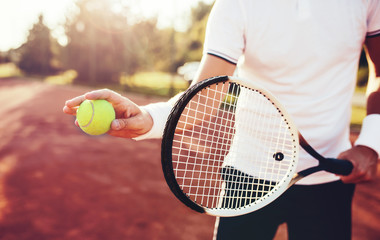 Tennis player, close up photo. Sport, recreation concept