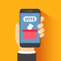 Voting online, e-voting, election internet system. Flat design. Vector illustration