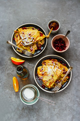 Sweet crepes with pomegranate