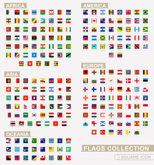 Square flags of the World, collection sorted by continents and alphabetical.