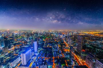 Aerial view of Bangkok skyline, Thailand..