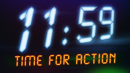 a digital clock with text time for action