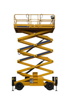 yellow industrial lift isolated on white background