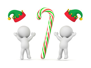 445a7fb907ec8 Two 3D Characters in Elf Hats and a Colorful Candy Cane