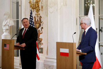 Polish Foreign Minister Czaputowicz and U.S. Secretary of State Pompeo hold news conference at Lazienki Palace in Warsaw