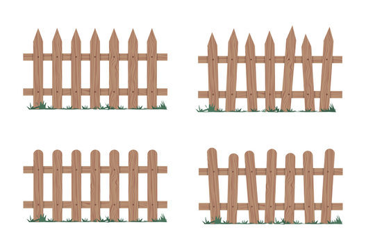 Wooden fence in natural colors. Vector illustration.