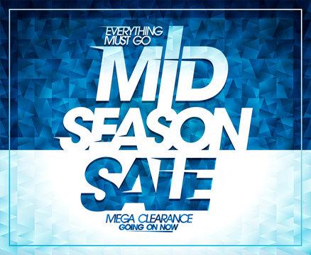Mid season sale, mega clearance banner design