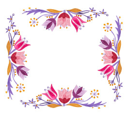Floral ornaments in watercolor. Design element. Copy space.