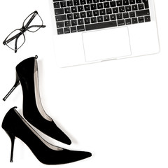 Fashion flat lay blogger social media white background