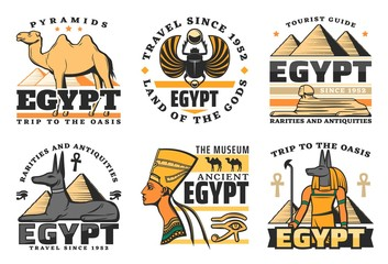 Egypt travel icons, pyramids and Sphinx