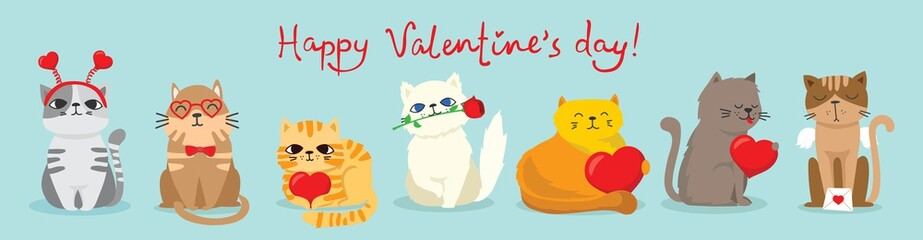 Vector illustration card with cute cartoon little Valentine cats in love and funny greeting text Happy Valentine's Day