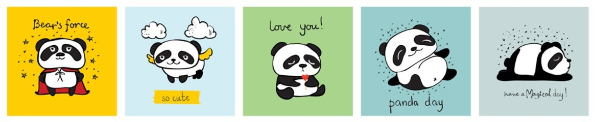 Vector set of vector cards with cute pandas and funny quotes for kid's interiors, banners and posters