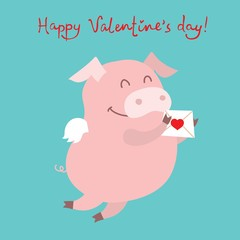 Vector illustration card with cute cartoon little Valentine pig in love