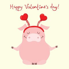Vector illustration card with cute cartoon little Valentine pig in love and funny greeting text Happy Valentine's Day