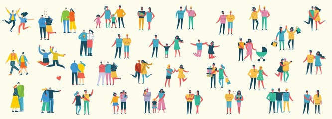 Vector illustration of different family people wi Papier Peint