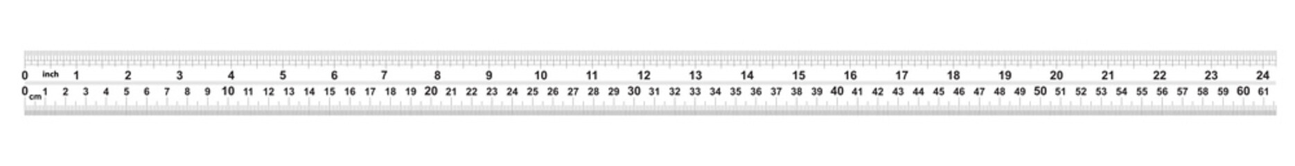 Ruler 24 inshes. Ruler 60 centimeters. Value of division - 32 divisions by inch and 0.5 mm. Precise length measurement device. Calibration grid.
