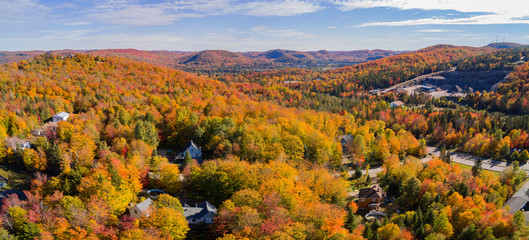 Aerial view of some rural fall color landscape