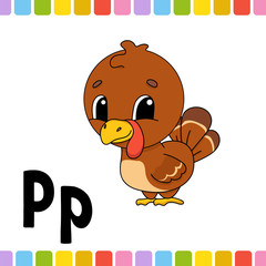 Animal alphabet. Zoo ABC. Cartoon cute animals isolated on white background. For kids education. Learning letters. Vector illustration.
