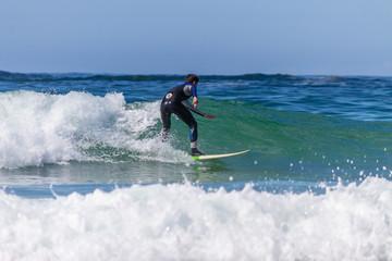 ARTEIXO, SPAIN – JUN 12th 2018:surfing atlantic coast