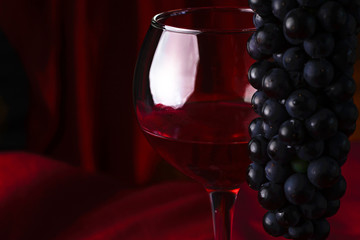 A glass of red wine and a branch of black grapes on a dark red background