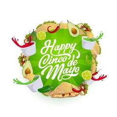 Cinco de Mayo Mexican chili tacos, nachos, avocado