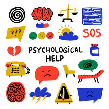 Psychology. Psychological help. Set of hand drawn icons on theme of psychology. Psychology, brain and mental health vector icons or logos set.Doodle style flat vector illustration