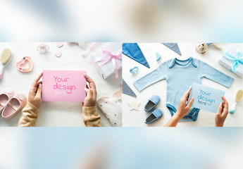 Baby Clothes Flay Lay Mockup with Card