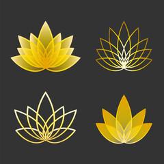 Set of Linear lotus icon. Golden flower symbols