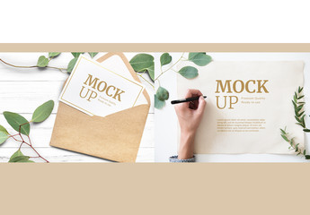 Kraft and Aged Paper Envelope and Card Mockup