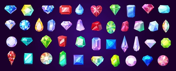 Gems, diamond and ruby vector precious stones
