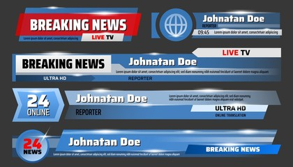 Screensavers, vector breaking news live broadcast
