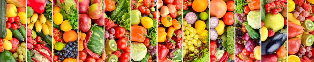 Panoramic collage vegetables, fruits and berries separated vertical lines