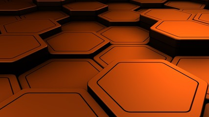 Wall Mural - Metal copper abstract hexagons background, 3d render