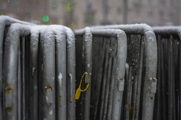 mobile steel fence at a barrier - Image