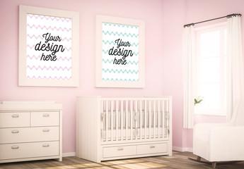 Framed Prints in Nursery Mockup