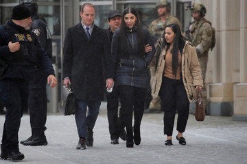 "Emma Coronel Aispuro, the wife of Joaquin Guzman, departs after the trial of Mexican drug lord Guzman, known as ""El Chapo"", at the Brooklyn Federal Courthouse, in New York"